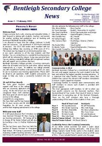 Bentleigh Secondary College. News