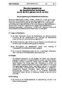 Benutzungssatzung der Stadtbibliothek Nordhausen