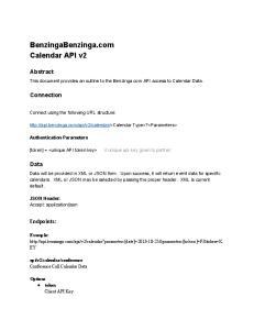 BenzingaBenzinga.com Calendar API v2