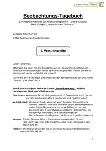 Beobachtungs-Tagebuch