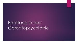 Beratung in der Gerontopsychiatrie