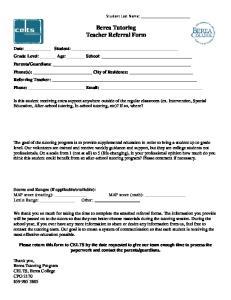 Berea Tutoring Teacher Referral Form