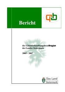 Bericht. der Gleichbehandlungsbeauftragten des Landes Steiermark