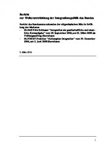 Bericht zur Weiterentwicklung der Integrationspolitik des Bundes