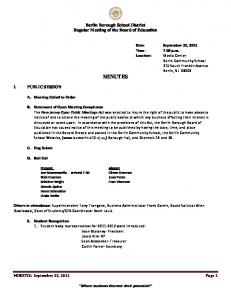 Berlin Borough School District Regular Meeting of the Board of Education MINUTES