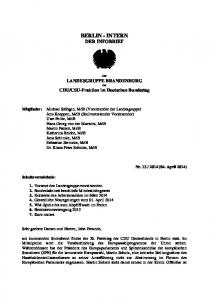BERLIN - INTERN DER INFOBRIEF