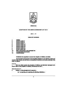 BERMUDA ADOPTION OF CHILDREN AMENDMENT ACT : 17