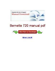 Bernette 720 manual pdf