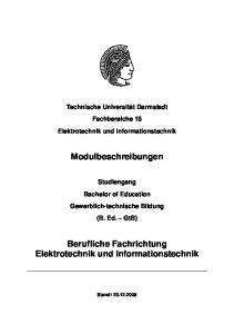 Berufliche Fachrichtung Elektrotechnik und Informationstechnik