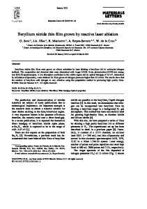 Beryllium nitride thin film grown by reactive laser ablation