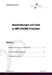 Beschreibungen und Texte zu IMPLEXIONS Produkten