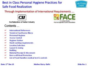 Best in Class Personal Hygiene Practices for Safe Food Realization