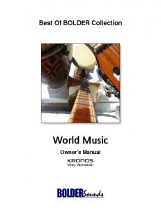 Best Of BOLDER Collection. World Music. Owner s Manual. Music Workstation