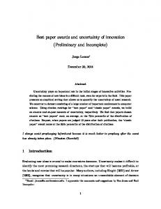 Best paper awards and uncertainty of innovation (Preliminary and Incomplete)
