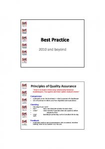 Best Practice and beyond
