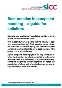 Best practice in complaint handling a guide for solicitors