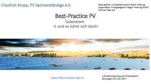 Best-Practice PV Solarstrom und es lohnt sich doch!