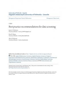Best practice recommendations for data screening