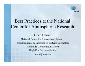 Best Practices at the National Center for Atmospheric Research