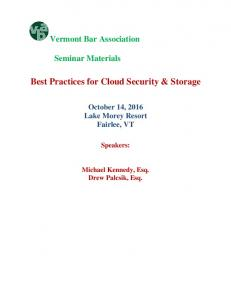 Best Practices for Cloud Security & Storage