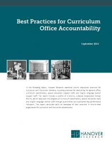 Best Practices for Curriculum Office Accountability