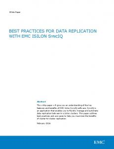 BEST PRACTICES FOR DATA REPLICATION WITH EMC ISILON SYNCIQ