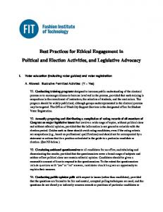 Best Practices for Ethical Engagement in Political and Election Activities, and Legislative Advocacy
