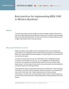 Best practices for implementing IEEE-1588 in Wireless Backhaul