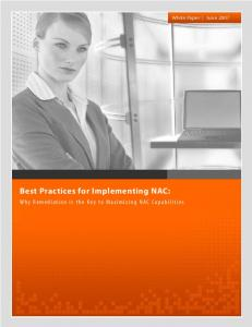 Best Practices for Implementing NAC:
