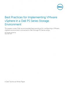 Best Practices for Implementing VMware vsphere in a Dell PS Series Storage Environment