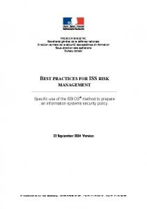BEST PRACTICES FOR ISS RISK