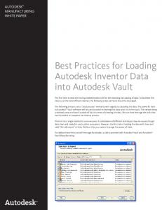 Best Practices for Loading Autodesk Inventor Data into Autodesk Vault