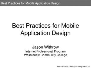 Best Practices for Mobile Application Design