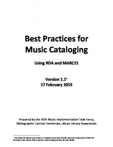 Best Practices for Music Cataloging