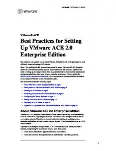 Best Practices for Setting Up VMware ACE 2.0 Enterprise Edition