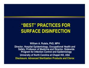 BEST PRACTICES FOR SURFACE DISINFECTION