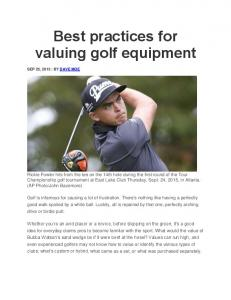 Best practices for valuing golf equipment