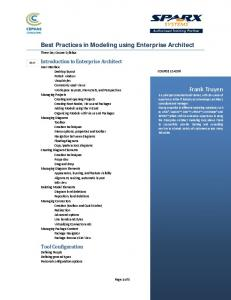 Best Practices in Modeling using Enterprise Architect