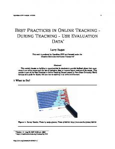 Best Practices in Online Teaching - During Teaching - Use Evaluation Data