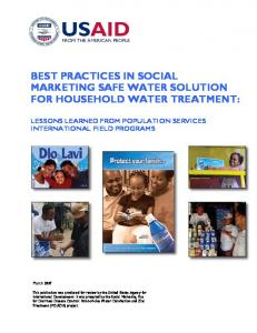 BEST PRACTICES IN SOCIAL MARKETING SAFE WATER SOLUTION FOR HOUSEHOLD WATER TREATMENT: