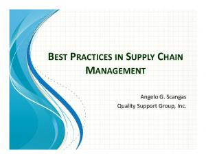 BEST PRACTICES IN SUPPLY CHAIN MANAGEMENT. Angelo G. Scangas Quality Support Group, Inc