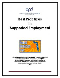 Best Practices in Supported Employment