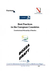 Best Practices in the European Countries Constitutional Monarchy of Sweden