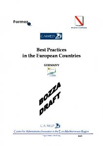 Best Practices in the European Countries GERMANY