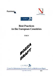 Best Practices in the European Countries ITALY
