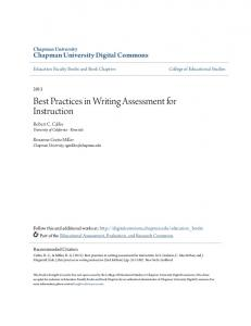 Best Practices in Writing Assessment for Instruction