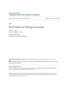 Best Practices in Writing Assessment