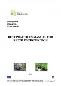 BEST PRACTICES MANUAL FOR REPTILES PROTECTION
