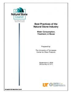 Best Practices of the Natural Stone Industry