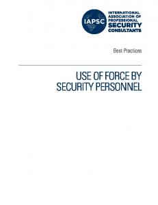 Best Practices USE OF FORCE BY SECURITY PERSONNEL